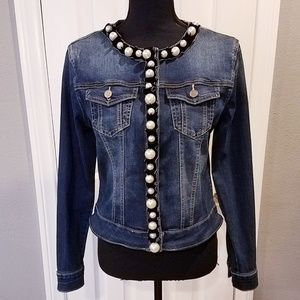 BeBe jean jacket with pearl embellishments Sz smal